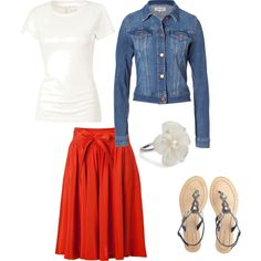 Something about jean jackets and red skirts looks really good!