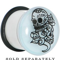 5/8 glow in the dark Sugar Skull Plug (comes in sizes up to 1 inch) #stretchedears #plugs #piercings #bodymodification $4.99