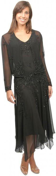 Black tea length evening dresses