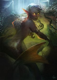 when mermaids went into a predatory state, their eyes and hands would shift in order to adapt to their needs. their overall appearance would be far more intimidating