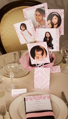 A great photo centerpiece from baby to 15 years old #quinceanera #birthday #party