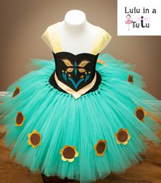 Anna Frozen Fever Inspired Tutu Dress with Glitter Panel - Sunflowers and Butterflies - Knee Length