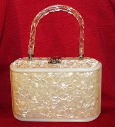 Vintage Clear Lucite Purse Handbag Carved Handle