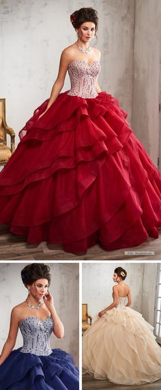 Mary's Quinceanera Style 4T192 • Tulle quinceanera ball gown with strapless sweetheart neck line, beaded bodice, natural waist line, slant tiered skirt with train, and back with lace-up closure.