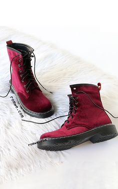 Velvet lace up short boots WINE. Sock Shoes, Cute Shoes, Me Too Shoes, Crazy Shoes, Short Boots, Swagg, Shoe Game, Women's Accessories, Heeled Boots
