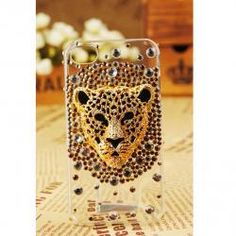 FREE SHIPPING iPhone 5 Case Leopard Face Artificial Rhinestone Swarovski Bling Crystal Girly Clear Cover