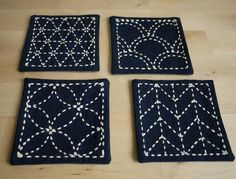 DIY Kit Sashiko Embroidery: Genki Coasters, via Etsy. Hand Embroidery Patterns, Embroidery Thread, Machine Embroidery Designs, Embroidery Supplies, Fabric Crafts, Sewing Crafts, Eco Deco, Shashiko Embroidery, Boro