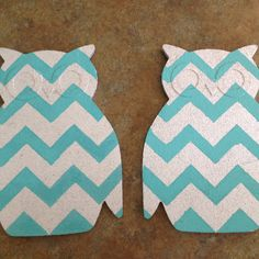 Cork board owl from dollar section at target. Spray painted silver then made a stencil in the chevron pattern and you dab the teal on with brush! Fun for kids room or your classroom!
