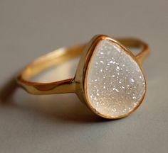 Druzy Ring White Agate Druzy Teardrop Shape Stacking by OhKuol