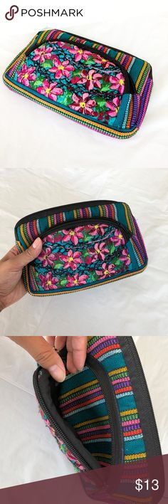 """Stitched Floral Cosmetic Bag Length: 8"""" Height: 4.5""""  Nwot; Never used. From Guatemala. Beautifully stitched floral design. Soft and cushioned fabric. Two pockets. Great for makeup, coin purse, wallet, satchel, etc.  Offers welcome using the offer button! Bags Cosmetic Bags & Cases"""