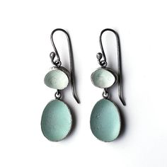 Seaglass earrings shards by tania, etsy