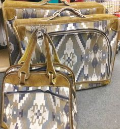 Vintage French Company - Louis Vuitton 3 piece Luggage Collection Tapestry And Suede Please request a shipping quote , prices do not reflect shipping. Vintage Coat, French Vintage, Harris Tweed, Louis Vuitton, 3 Piece, Tapestry, Michael Kors, Trending Outfits, Unique Jewelry