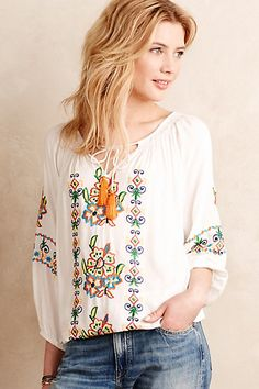 I'd wear this with cutoffs.  Ovidia Peasant Top #anthropologie