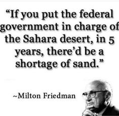 If you put the federal government in charge of the Sahara desert, in 5 years, there'd be a shor / funny pictures :: government :: milton friedman :: quote :: desert Quotable Quotes, Wisdom Quotes, True Quotes, Great Quotes, Funny Quotes, Inspirational Quotes, Qoutes, People Quotes, Memo Boards
