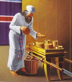 The Table for Bread Exodus A priest changes out the bread at the Table of Showbread in the Tabernacle of Moses.