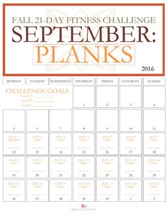 Fall is right around the corner and it's the perfect time to take stock of your fitness goals and give your fitness motivation a reboot before the holidays. Tone your torso, flatten your abs, and improve your strength with the 21-Day Fall Fitness Challenge: Planks. Click through to http://jillconyers.com to join the FREE challenge. Pin it and share it with your friends.