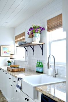 Amazing DIY white kitchen make-over, how to install a plank ceiling, by Chatfiel. - Amazing DIY white kitchen make-over, how to install a plank ceiling, by Chatfield Court featured on - 1970s Kitchen Remodel, Kitchen Remodel Pictures, Budget Kitchen Remodel, Galley Kitchen Remodel, Kitchen Cabinet Remodel, Kitchen On A Budget, New Kitchen, Kitchen Decor, Kitchen Remodeling