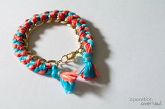 Simple bracelet using embroidery thread and a chain bracelet.