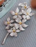 The Irish Blossom Brooch. Not much is known about this piece; it features six diamond flowers blossoming off a central stem. Each flower has a golden center. Its precise origin is unclear. http://queensjewelvault.blogspot.com/2012/06/irish-blossom-brooch.html