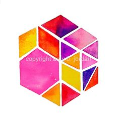 My modern hexagon geometric design has been dressed up in vibrant sunset colors! This original image is a hexagon constructed from multiple triangles