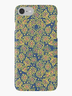 """Spring Blossom - ultramarine, yellow & orange, floral pattern"" iPhone Cases & Skins by clipsocallipso 