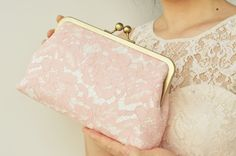Pink bridesmaid clutches, Lace Wedding Clutch, Personalized Bridesmaid Gift, Party Clutch, Bridal Clutch, Evening clutch, Wedding Accessory