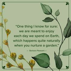 One thing I know for sure: we are meant to enjoy each day we spend on Earth, which happens quite naturally when you nurture a garden. # Gardening quotes One thing I know for sure: we are meant to enjoy each day we spend on Earth, which happens quite Sign Quotes, Wisdom Quotes, Growing Vegetables In Pots, Plants Quotes, Garden Journal, Garden Quotes, Flower Quotes, Nature Quotes, Garden Inspiration