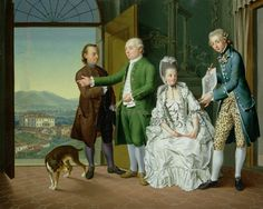 """The leopard-print breeches are fantastic! """"An Interior with Elegant Company"""" by Venceslao Verlin, (flourished 1768- early 1780). The villa in the background is Medici Villa a Caiano in Tuscany."""