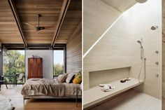 Interior view of master bedroom and walk in shower Lake Flato, Wood Columns, Stair Steps, Austin Homes, Prefab Homes, Modern Exterior, Maine House, Architecture Design, House Plans