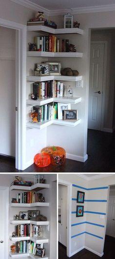 Transform a Corner with Wraparound Shelves . living room or extra room for books