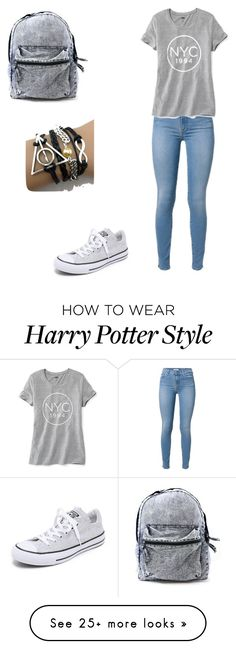 """Classic school day"" by mariah-lanter on Polyvore featuring Old Navy and Converse"