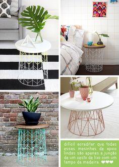 Com um tampo de madeira e um cesto de lixo aramado você consegue criar uma delicada e criativa mesinha lateral. #diy #reaproveitamento