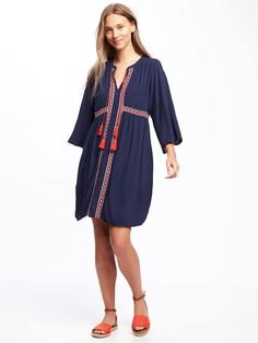 Embroidered Tie-Front Swing Dress in Lost at Sea Navy | Old Navy