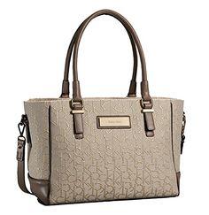 Calvin Klein Logo Jacquard City Shopper Tote Shoulder Bag Handbag Satchel 55ba924c86