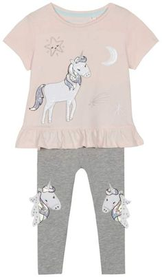 d3c13a57f6f BLUE ZOO bluezoo - 'Girls' Light Pink Unicorn Applique T-Shirt And Leggings