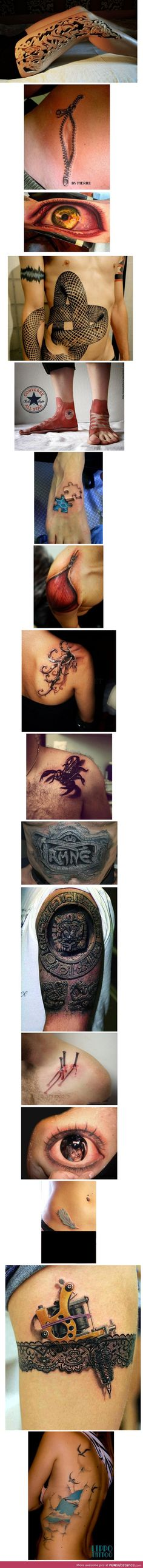 Awesome 3D Tattoos- not that I approve of tattoos. The artwork is amazing here! OMG. Some are so real try gross me out!!