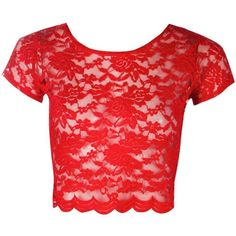 Boohoo Tricia Lace Crop Top ($16) ❤ liked on Polyvore featuring tops, jersey crop top, off shoulder tops, lace bralette top, lace cami top and red lace top