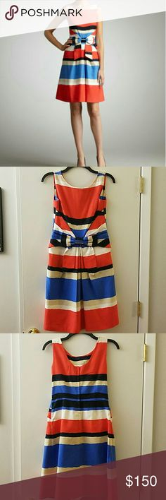 Kate Spade Jillian Dress Kate Spade Jillian Bow Striped Dress in All Aboard print.  Beautiful colors and the bow on the front is adorable!  Back zipper.  Size 4.  As seen on Zooey Deschanel on New Girl! kate spade Dresses