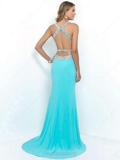 Trumpet/Mermaid Sweetheart Chiffon Sweep Train Rhinestone Prom Dresses #02016038