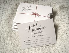 calligraphy gift certificate