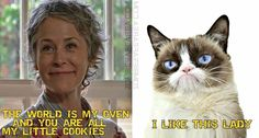 The Walking Dead and Grumpy Cat The Walking Dead 2, Walking Dead Zombies, Walking Dead Memes, Daryl And Carol, Best Zombie, Stuff And Thangs, Grumpy Cat, Best Shows Ever, Favorite Tv Shows