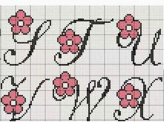Cross Stitch Letters, Cross Stitch Boards, Cross Stitch Love, Cross Stitch Needles, Cross Stitch Designs, Stitch Patterns, Cross Stitching, Cross Stitch Embroidery, Crochet Letters