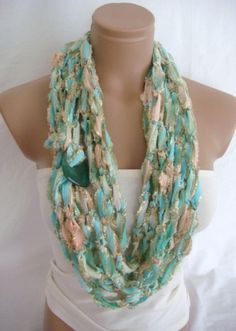 Crocheted Scarf, Infinity Rope Scarf, Chain Scarf (Phosphoric Pink) by Arzu's Style
