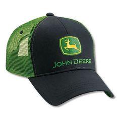 Men's John Deere Hat / Cap (Black / Green Mesh) - www.greentoysandmore.com