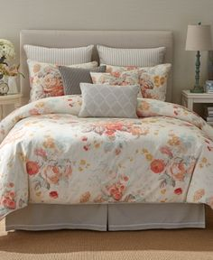 Stapleton Park Reversible King Comforter Set In Bouquet Peach Bedding, Floral Comforter, Camo Bedding, Gray Bedding, Ruffle Bedding, Bedding Shop, Bed Linen Design, Luxury Bedding Sets, Modern Bedding