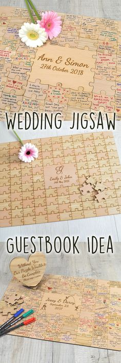 Introducing our beautiful wedding jigsaw puzzle piece guest book. Made up entirely of beautiful mixed light and dark real oak and beech wood pieces.  These wedding jigsaw puzzle guestbooks are of the highest quality - your guests will be amazed at this guestbook alternative, and love signing the individual puzzle pieces to help celebrate your wedding day.  The puzzle can be easily framed and will look amazing on your wall after your wedding.