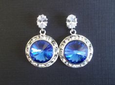 Blue Sapphire Earrings, Blue Bridal Earrings,September Birthstone Jewelry,Something Blue,Swarovski Sapphire Earrings,Cubic Zirconia,Sparkle by Uniquebeadables on Etsy