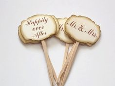 Wedding Cupcake Toppers Mr and Mrs Cupcake Toppers by ShopatLilys