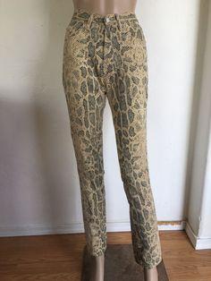 VTG High Waist Pants XS S Snakeskin Cigarette Skinny 80s Cimarron Jeans Waist 28…