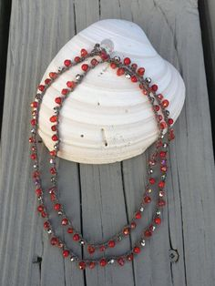 Red Coral and Silver Beads Crocheted on Taupe Cord by WaterhouseCo